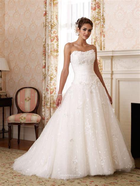 Lace Over Taffeta Strapless Ball Gown Wedding Dress UK
