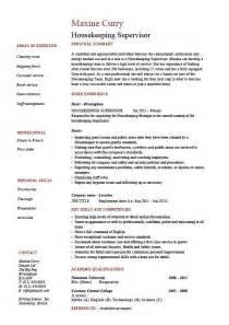 Resume Examples Housekeeping Housekeeping Supervisor Resume Cleaning Example Sample