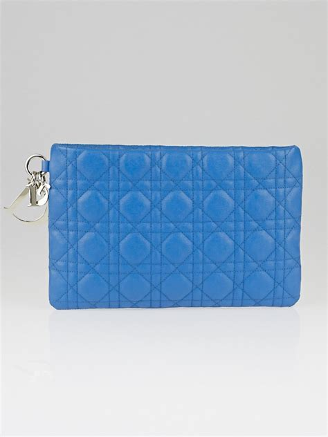 Vinyl Cannage D Clutch by Christian Cornflower Blue Cannage Quilted Coated