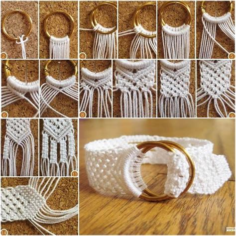 Easy Macrame Belt Patterns - diy two ring closure macrame belt