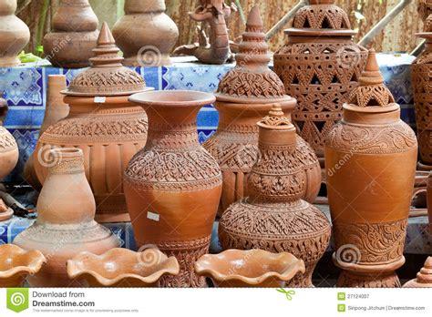 Handmade Clay Pots - earthenware handmade clay pots stock image image