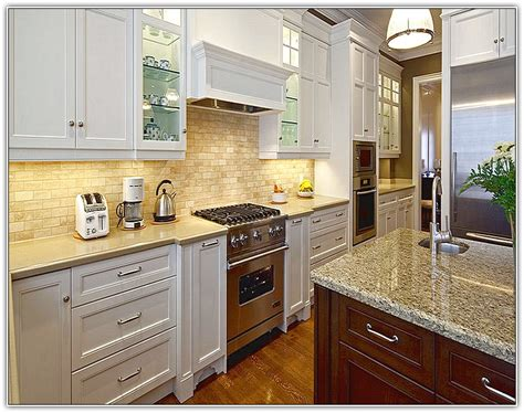 espresso kitchen cabinets with white island home design