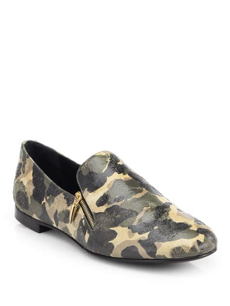 camo loafers giuseppe zanotti doublezip camo loafers in green for