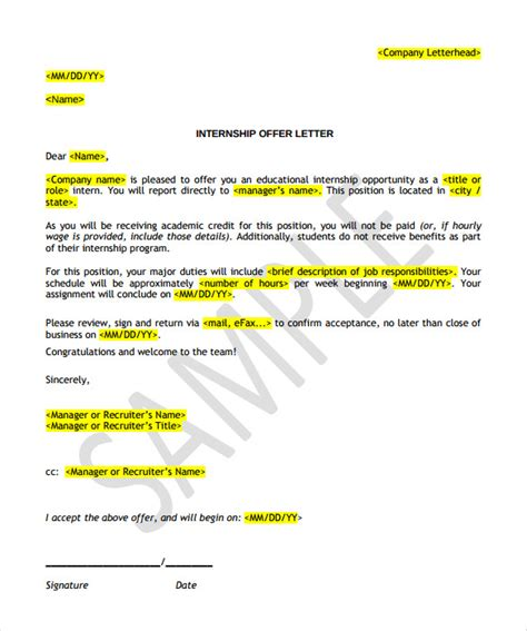 Offer Letter Sle With Terms And Conditions Offer Letter Template 13 Free Word Pdf Documents Free Premium Templates