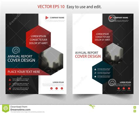 magazine layout design vector red black hexagon abstract annual report brochure design