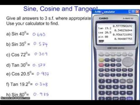 calculator sin cos tan using the the sin cos and tan functin button the