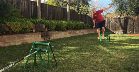 backyard tightrope backyard tightrope how to set up a slackline with no trees