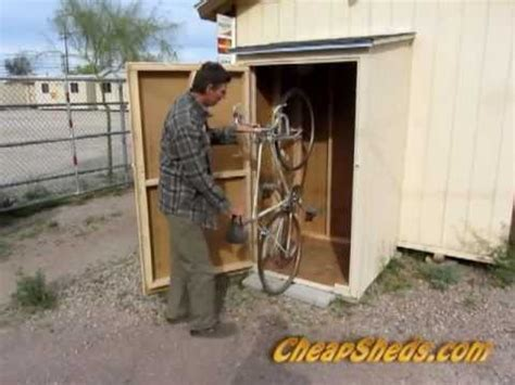 compact vertical bike storage shed plans