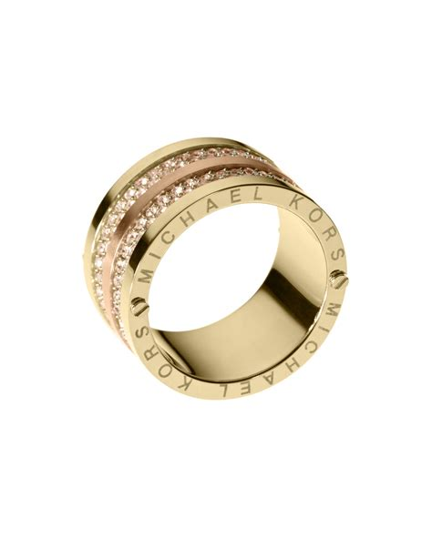 Michael Kors Ring by Michael Kors Pave Barrel Band Ring In Gold 6 Lyst