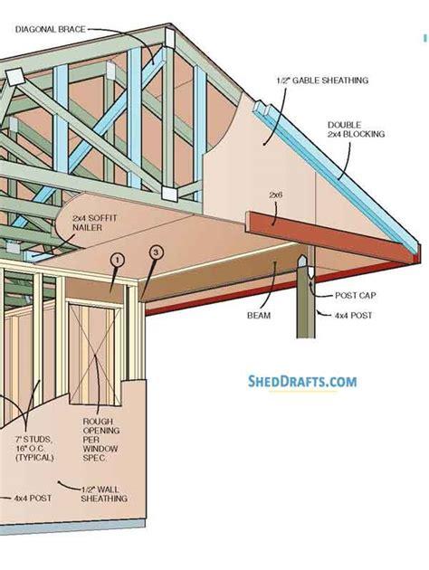 backyard storage shed  porch plans blueprints