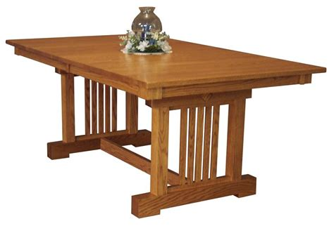 mission style dining room table amish mission trestle dining room table