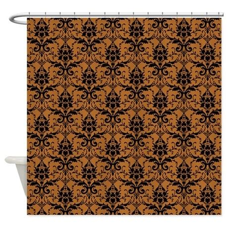 brown damask shower curtain brown damask shower curtain by expressivemind