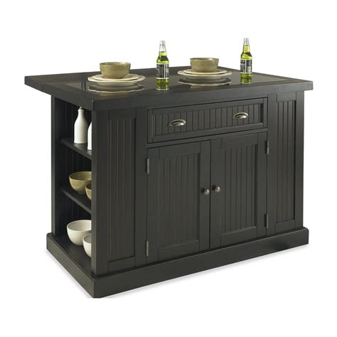 kitchen island black home styles 5033 94 nantucket kitchen island in sanded and distressed black