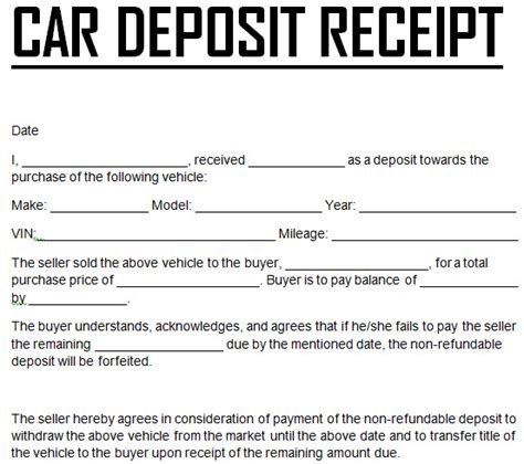 Free Template Receipt Of Deposit Business by Automotive Bill Of Sale Template Template Business