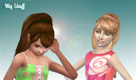 ponytailsims 4 child sims 4 hairs mystufforigin confident ponytail hair for