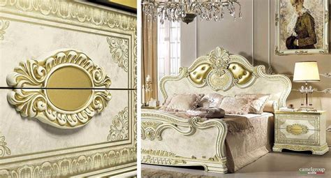 esf leonardo luxury gold ivory queen bedroom set  classic royalty   italy esf leonardo