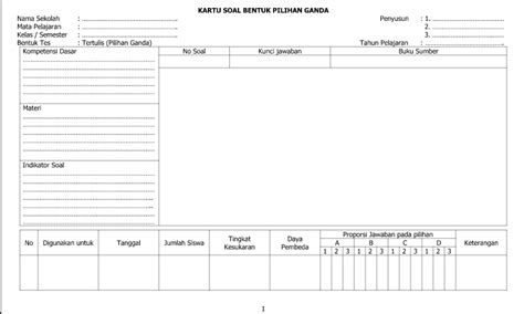 gambar format kartu kendali contoh template format kartu soal bentuk pilihan ganda