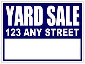 yard sale signs neighborhood sale blue lawn sign