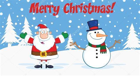 merry christmas greeting  santa claus  snowman stock photo  hittoon