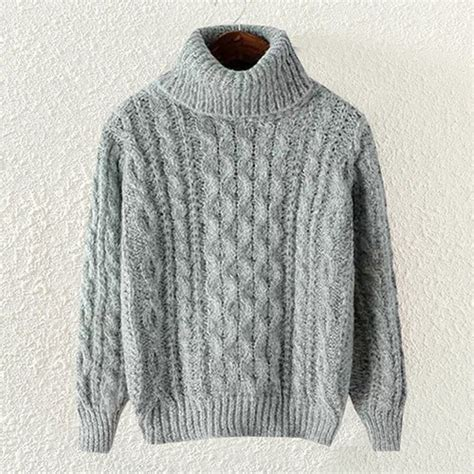 Grey Casual High Neck Cable Knit Pullover Polyester Jumper