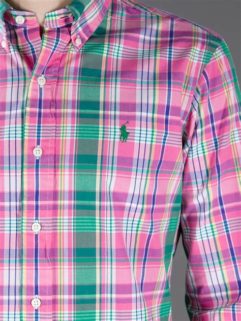Polo 128 06 Chest Bag Green polo ralph plaid shirt in pink for lyst