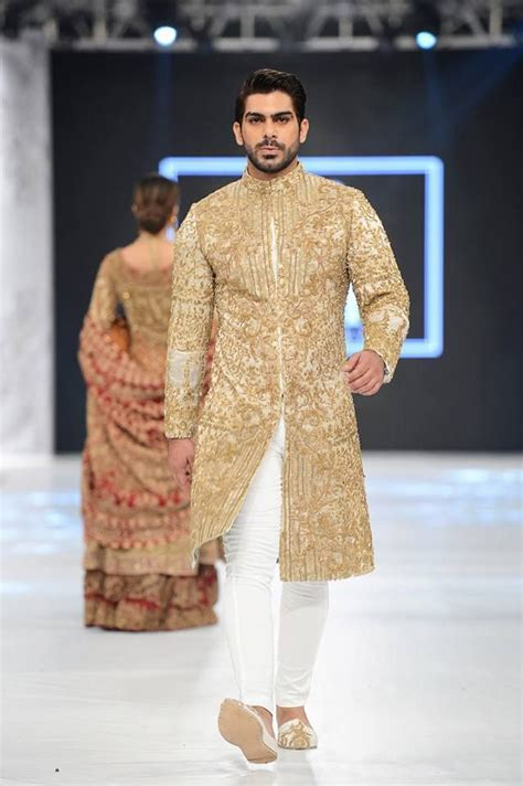HSY white and gold embroidered sherwani designs 2016 2017