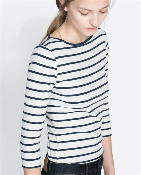 Zaraman Cotton Shirt zara organic cotton striped t shirt in blue ecru navy lyst