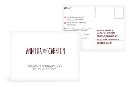 Hochzeitseinladung Antwortkarte by Antwortkarte Hochzeit Quot Mr Mrs Quot
