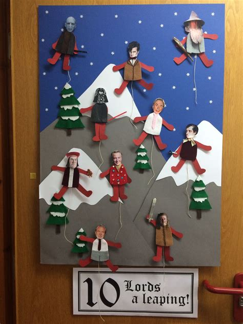 day  lords  leaping christmas door display