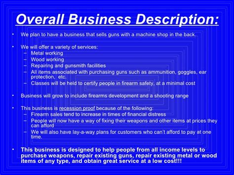 Business Plan Powerpoint Firearms Business Plan Template