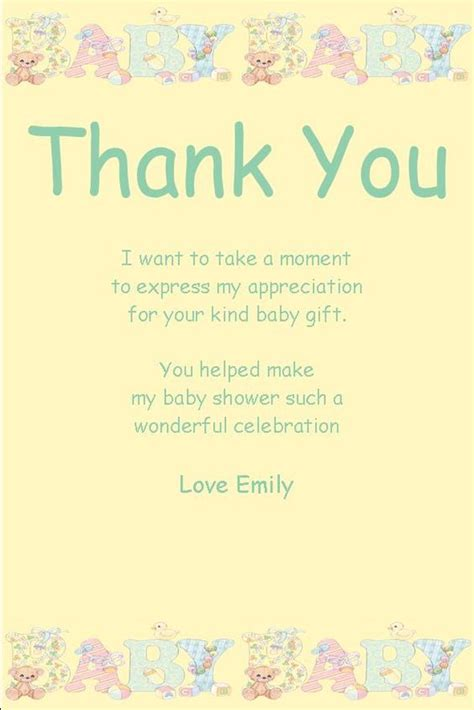 Baby Shower Thank You Speech by Baby Showers Card Sayings And Thank You Tags On