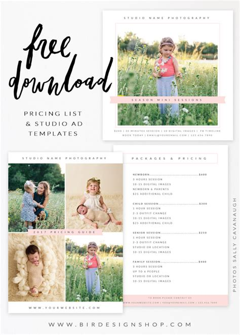 free templates for photographers free pricing list studio ad templates bird design