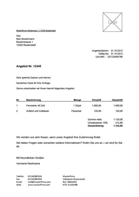 Musterbrief Angebot Annehmen rechnungsvorlage musterrechnung kostenlos lexoffice