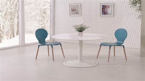 Blue Dining Table And Chairs White Gloss Dining Table And 4 Blue Pu Chairs Homegenies