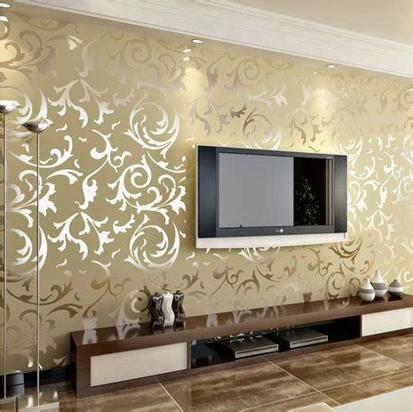 Home Interior Wall Sconces Luxury Classic Silver Grey Wallpaper High Quality Vintage