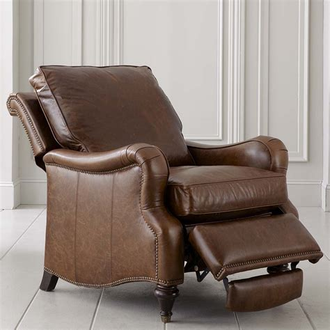 wooden recliner front wood leg recliner chair in brown leather