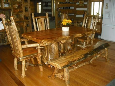 log dining room sets dining room set with bench seat and three captain style chairs baums log furniture