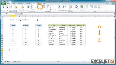 excel jet tutorial excel tutorial how to quick sort using one column in excel