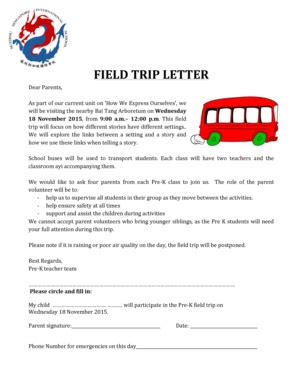 Sle Field Trip Letter To Parents