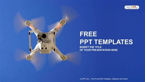 White Drone In The Sky Powerpoint Templates Free Robotics Ppt Templates