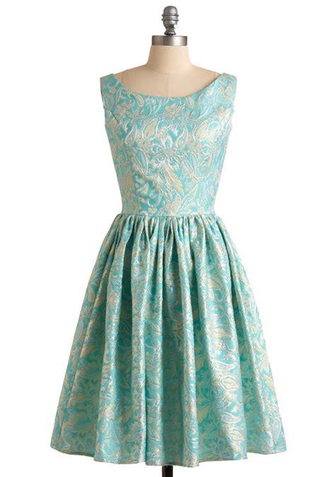 Dress Brocade by Modcloth Go For Brocade Dress In Blue Aqua Lyst