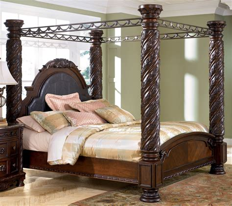ashley furniture canopy bed north shore king size poster canopy bed from millennium by