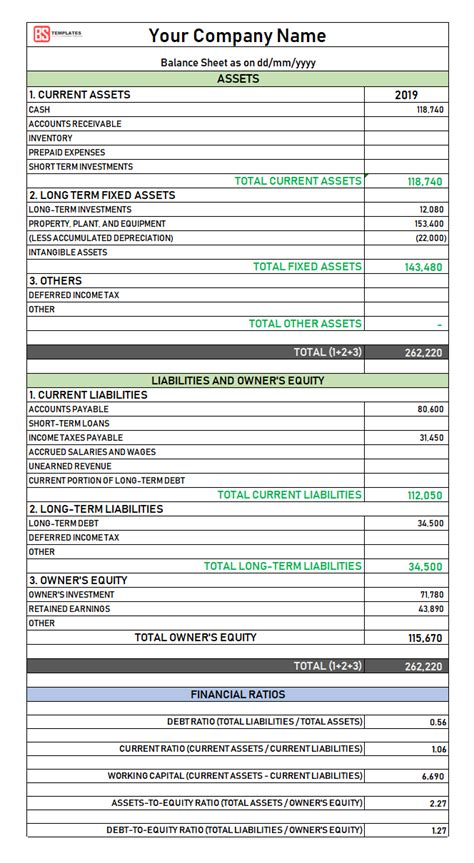 balance sheet  excel  sample template