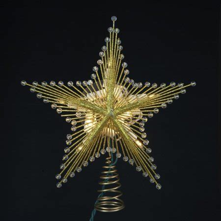 five star lighted tree top 9 5 quot lighted gold glittered and beaded tree topper clear lights walmart