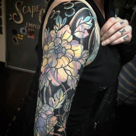 tattoo cover up portland blast over flower sleeve by ryanscapegoat at scapegoat