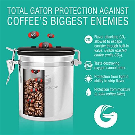 coffee gator stainless steel container canister with co2 valve scoop ebook and travel jar