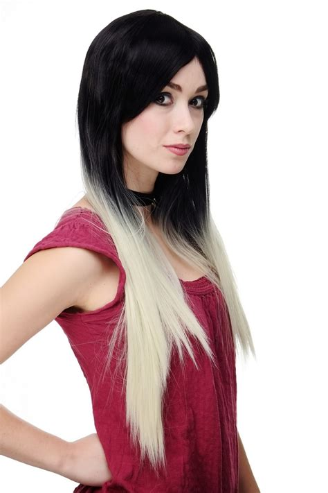 Discon Hair Clip Ombre wig ombre black platinum smooth middle