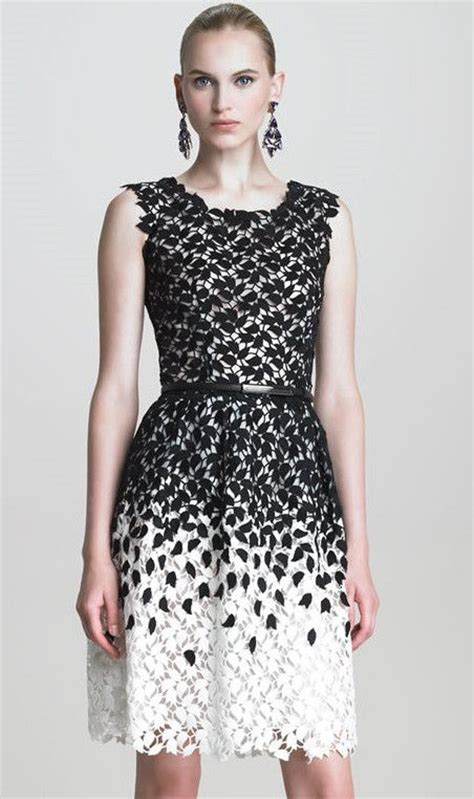 black and white leaf pattern dress black and white sleeveless leaf lace dress outfits