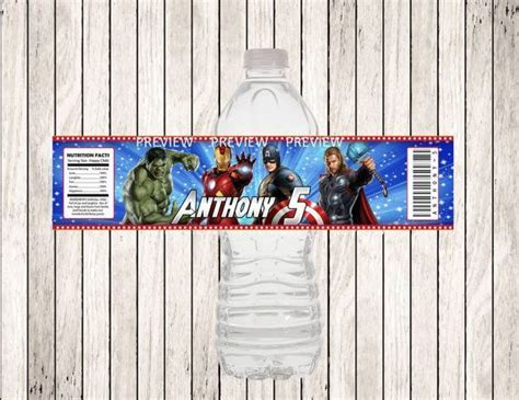 AVENGERS Personalized Water Bottle Label, DIY Printable