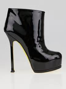 ysl boots yves laurent black patent leather tribtoo ankle